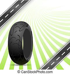 caoutchouc, noir, motocyclette, pneu