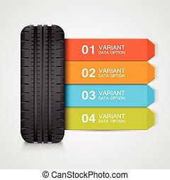 caoutchouc, noir, pneu, coloré, infographics