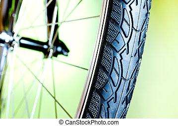 caoutchouc, nouveau, vélo, détail, pneu