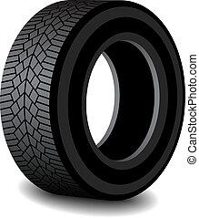 caoutchouc, ombre, vecteur, pneu