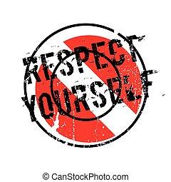 caoutchouc, respect, vous-même, timbre