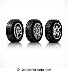 caoutchouc, roues, blanc, trois