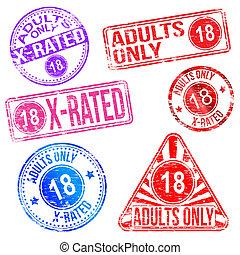 caoutchouc, seulement adultes, timbres