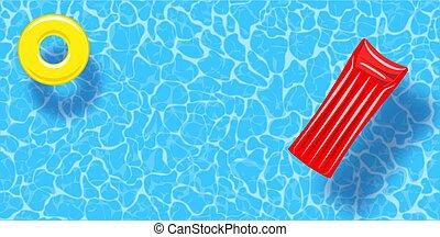 caoutchouc, sommet, eau, arrière-plan., radeau, anneau, vue, flotter, piscine, natation