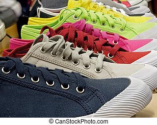 caoutchouc, toile, chaussures, coloré, sports