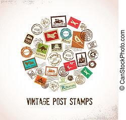caoutchouc, vendange, timbres, vecteur, fond