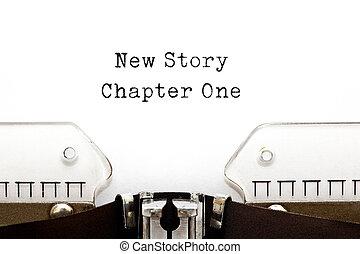 capítulo, nuevo, historia, uno, máquina de escribir