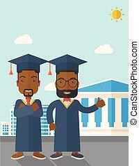 cap., 人, 黑色, 穿, 二, 畢業