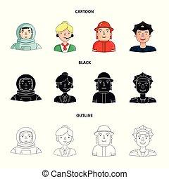 cap., 漫画, 別, アウトライン, ヘルメット, スタイル, 人々, バッジ, マイクロフォン, シンボル, ...