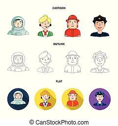 cap., 漫画, 別, ヘルメット, スタイル, 人々, バッジ, マイクロフォン, シンボル, セット, 専門職, ...