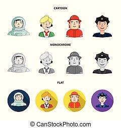 cap., 漫画, 別, ヘルメット, 平ら, スタイル, 人々, バッジ, マイクロフォン, シンボル, セット, ...