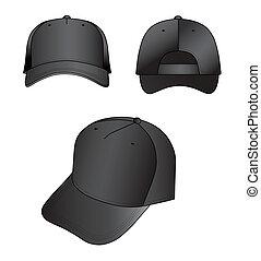 Cap - Black cap vector illustration isolated on white. EPS8...