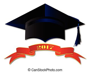 Cap Class Of 2017 - A university cap with banner showing...