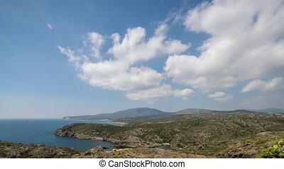 cap de creus coast sea spain mediterranean timelapse -...