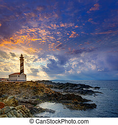 Cap de Favaritx sunset lighthouse cape in Mahon at Balearic...