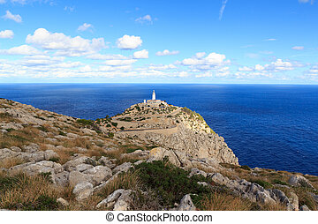 Cap de Formentor Lighthouse panorama and Mediterranean Sea, Majorca, Spain