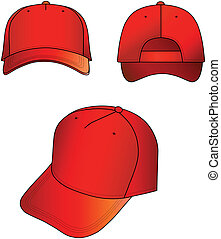 Cap - Red cap vector illustration isolated on white. EPS8...