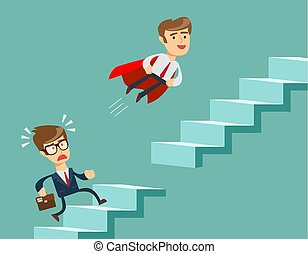 cap, escaliers., montées, écroulant, voler, haut, ladder., étapes, homme affaires, escalade, super, rouges, homme