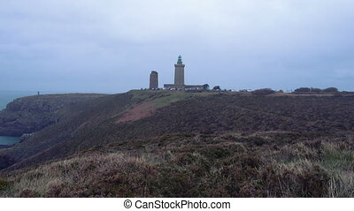 Cap Frehel lighthouse and rocky cliffs in Brittany France