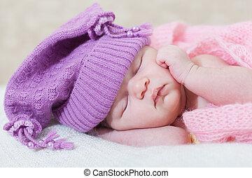 cap, girl, violet, nouveau né, sommeils, sous, chapeau, rose