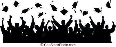 cap., graduados, silueta, vector, sombrero, lanzamiento, ...