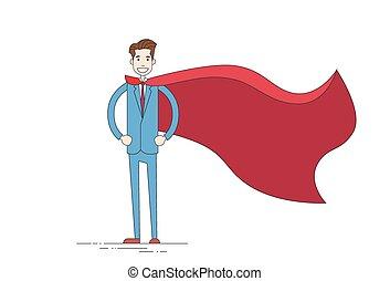 cap, homme affaires, héros, complet, dessin animé, rouges, ...