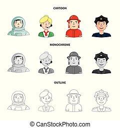 cap., karikatur, verschieden, helm, stil, leute, abzeichen, ...