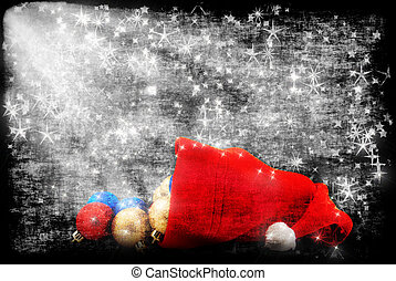 Cap of Santa with Christmas decorations