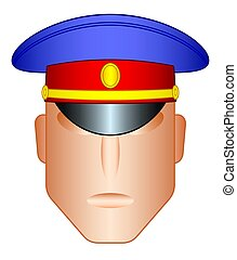 Cap on head - Illustration of the head in a service hat