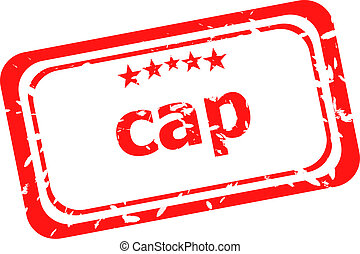 cap on red rubber stamp over a white background