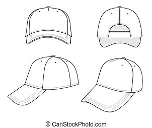 Cap - Outline cap vector illustration isolated on white. ...