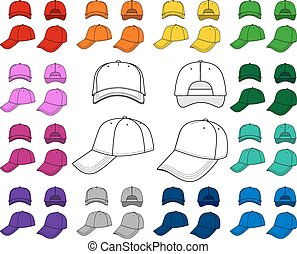 Cap outlined template - Cap vector illustration featured...