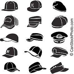 cap, sæt, isoleret, på hvide, hat, ikon, vektor, baseball,...