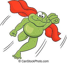 cap, sauts, héros, grenouille