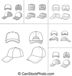 Cap set - Baseball, tennis cap colored vector illustration...