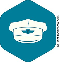 Cap taxi driver icon, simple style