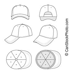 Cap vector illustration featured front, back, side, bottom, top isolated on white. EPS8 file available. You can change the color or you can add your logo easily.