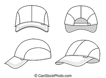 Cap template - Cap vector illustration featured front, back,...