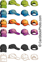 Cap Template Various Angle - hand drawing style of cap...