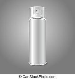 cap., vaporisez boîte, aérosol, produits de beauté, métal, bouteille, transparent, mousse, etc., graffiti, vecteur, peinture, vide, désodorisant, 3d