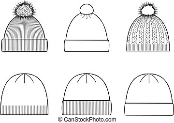 Vector illustration of winter knitted caps