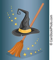 Cap wizard and witch broom. Cartoon style.