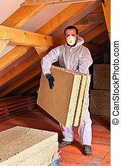 capa, colocar, techo, termal, debajo, aislamiento, hombre