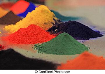 capa, coloreado, polvo
