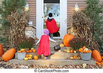 capa, engan-ou-tratamento, dia das bruxas, trajes, crianças