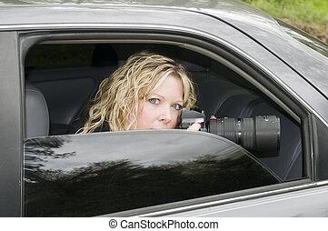capa interna, agente secreto, mulher, espiar, com, câmera,...