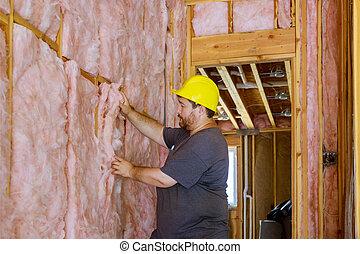 capa, termal, instalación, debajo, hombre, pared, lana, aislamiento, utilizar, mineral