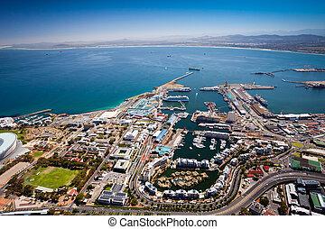 capa, vista, aéreo, pueblo, puerto