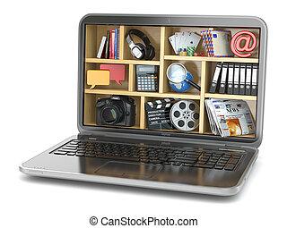 capabilities., obliczanie, concept., laptop's, chmura, software