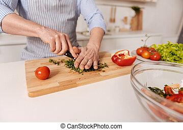 Capable man preparing vegetarian dish in the kitchen